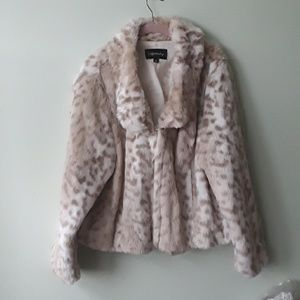 A plus size  fake fur cheetah print dress coat